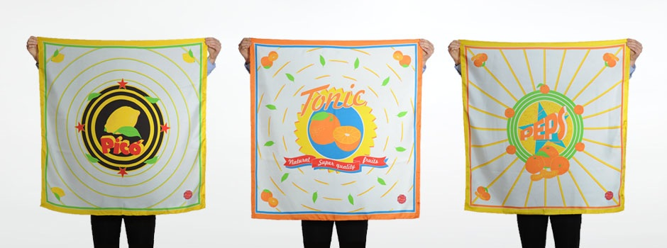 Striiiipes - Agrums Scarves Collection - Fruit wrapper scarf homepage