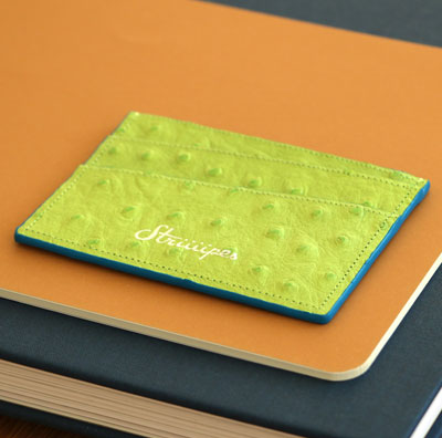 Striiiipes-cardholder-feature-product-green-ostrich-embossed-leather-cardholder 2
