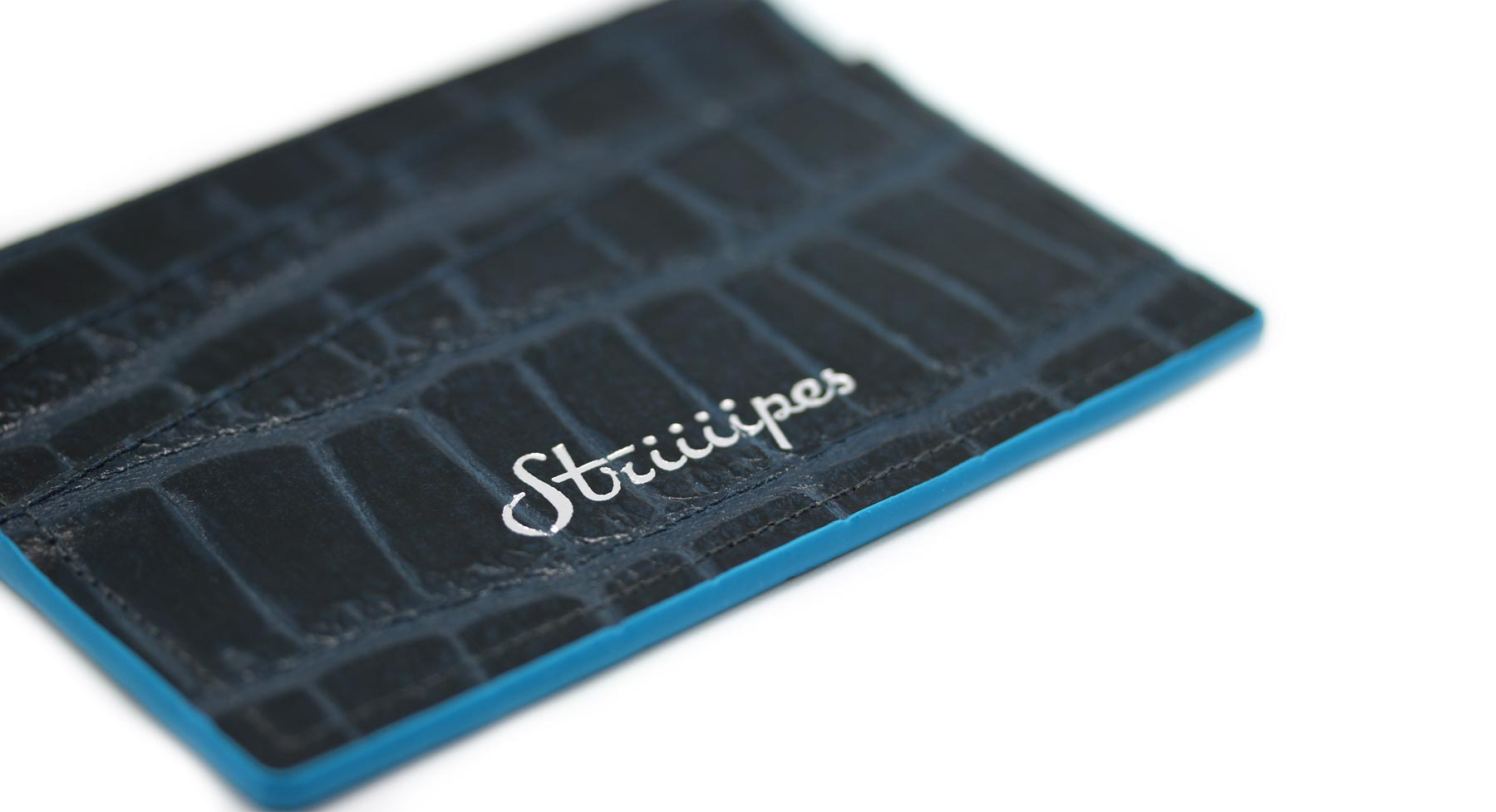 Dark Blue Croco Cardholder Striiiipes