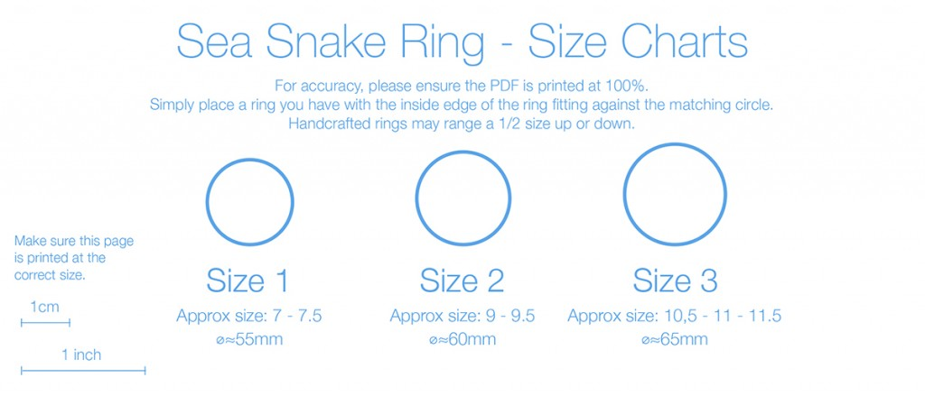 Sea Snake rings - Size charts - picture
